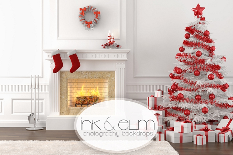 "Indoor Fireplace Christmas Tree Photography Background: Holiday Photography Backdrop ""Christmas Fireplace With Tree"""