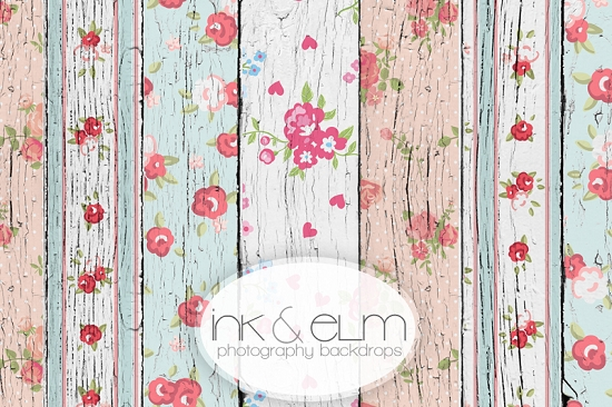 Floral And Roses Shabby Chic Wood Planks Vinyl Photography
