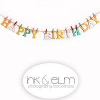 Photography Backdrop <br> Happy Birthday Clothespins