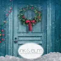 Photography Backdrop <br> Christmas Door and Flurry (blue)