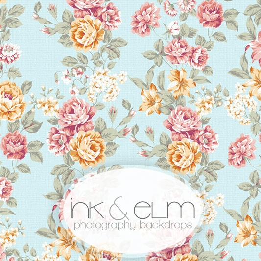 Floral And Roses Shabby Chic Vinyl Photography Backdrop Vintage Sky
