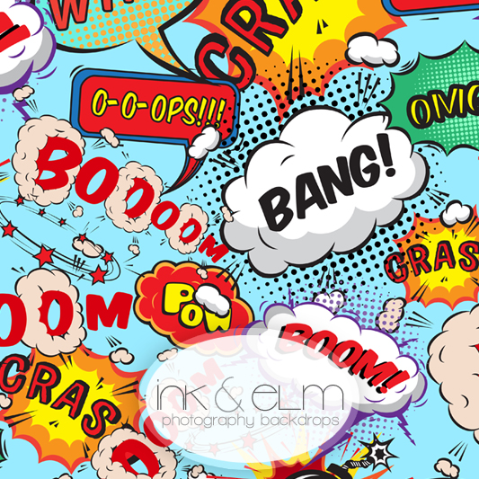comic superhero speech bubble party theme photography backdrop comic superhero. Black Bedroom Furniture Sets. Home Design Ideas