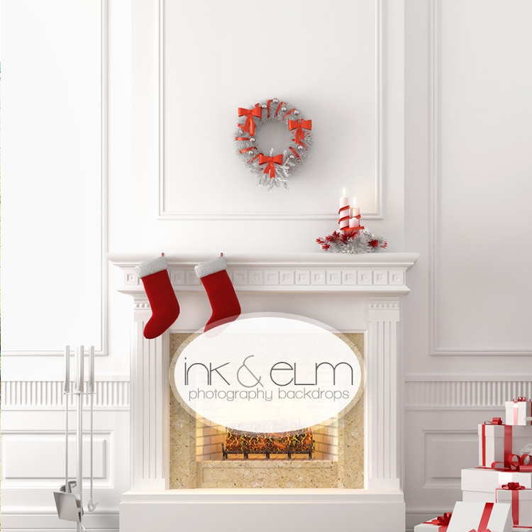 Photography Backdrop Christmas Fireplace