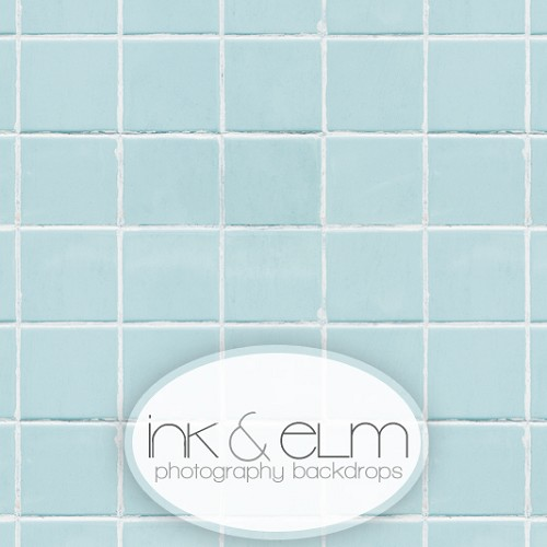 Photography Backdrop <br> Cloudy Blue Tile