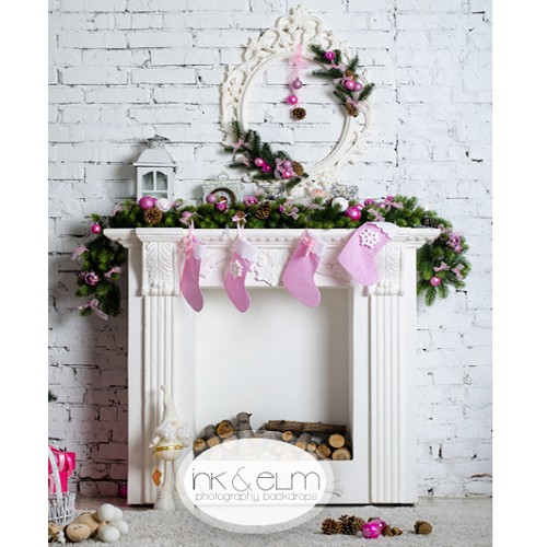 Photography Backdrop <br> Shabby and Chic Holiday Fireplace
