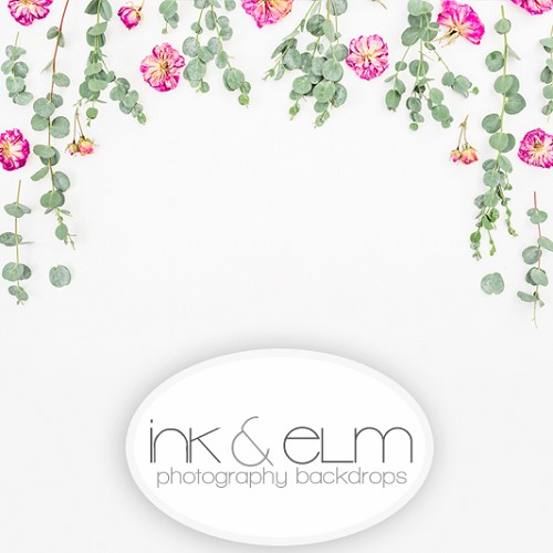 Photography Backdrop <br> Silver Dollar and Florals
