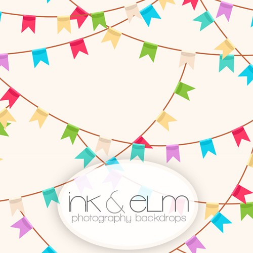 Photography Backdrop <br> Party Hard Pennants