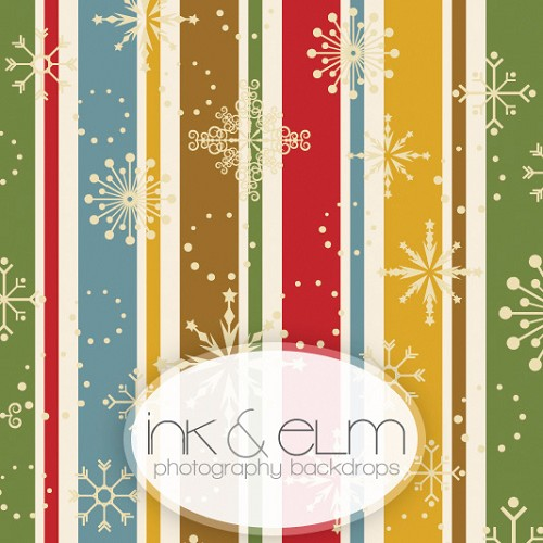 Photography Backdrop <br> Striped Snowflakes