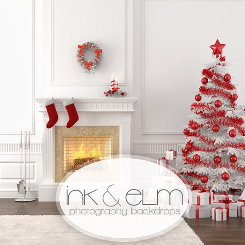 Photography Backdrop <br> Christmas Fireplace With Tree