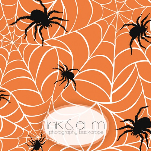 Photography Backdrop <br> Spinning the Web Orange